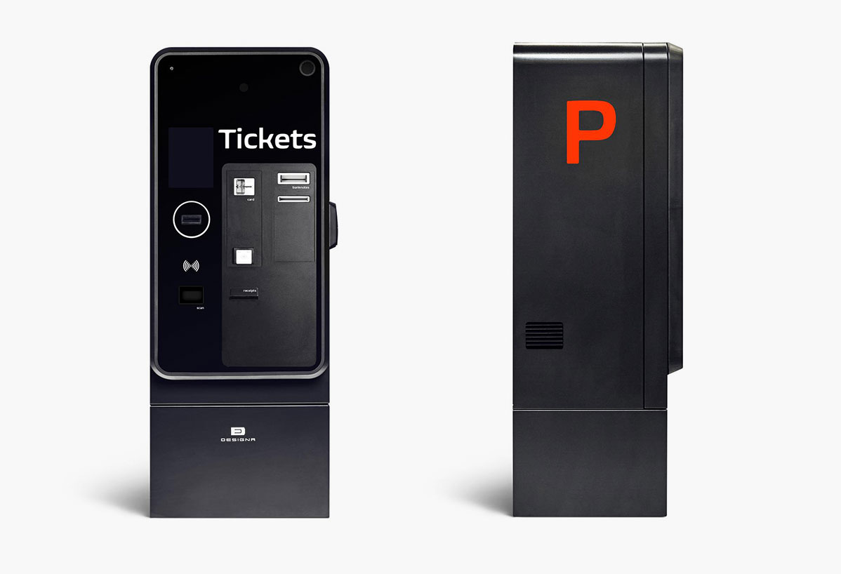 Front view of new Designa parking payment terminals