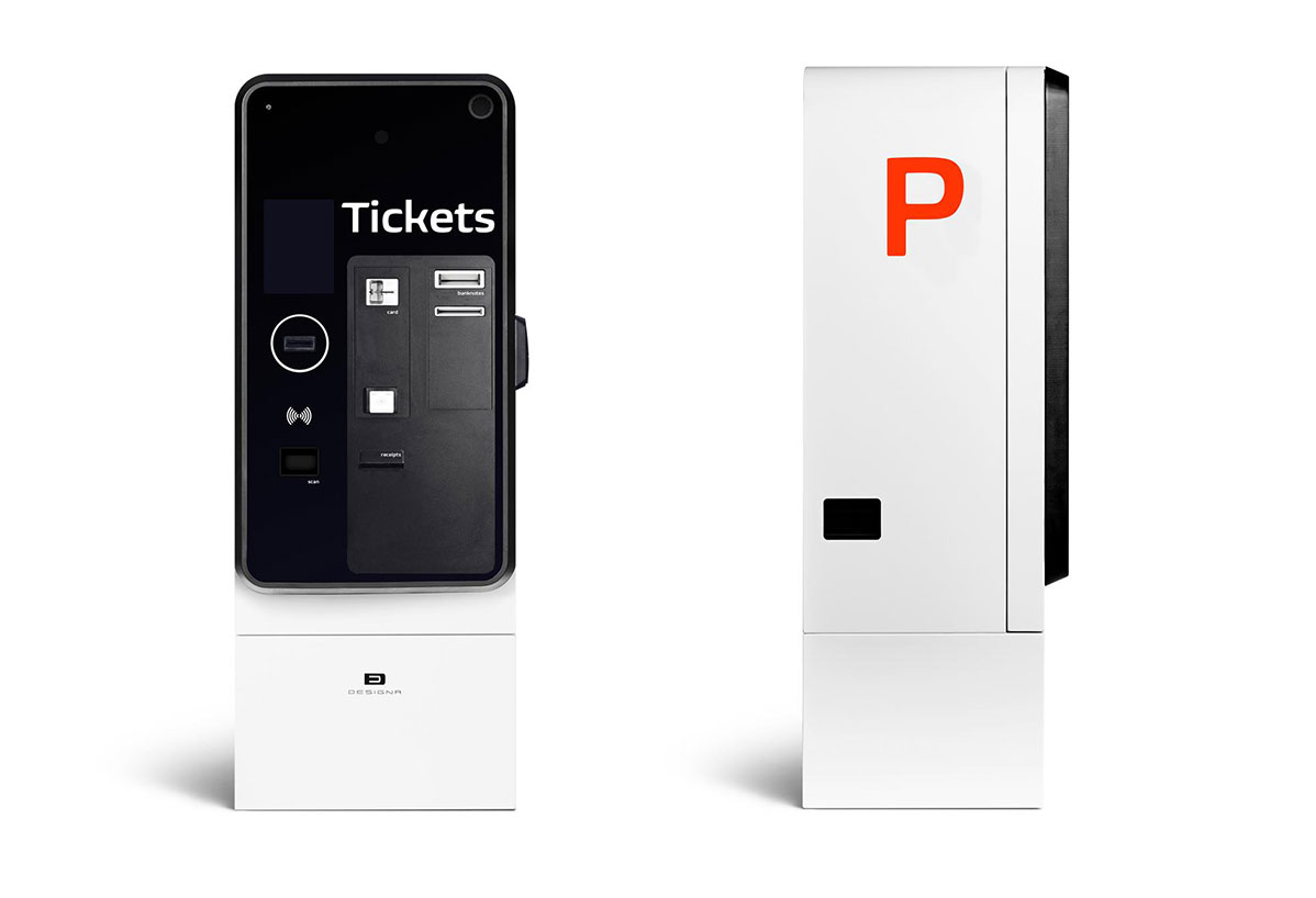 Coinless parking payment terminal front and side view